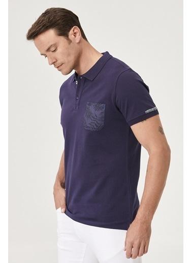 Beymen Business 4B4820200016 Slim Fit Tişört Baskılı Lacivert